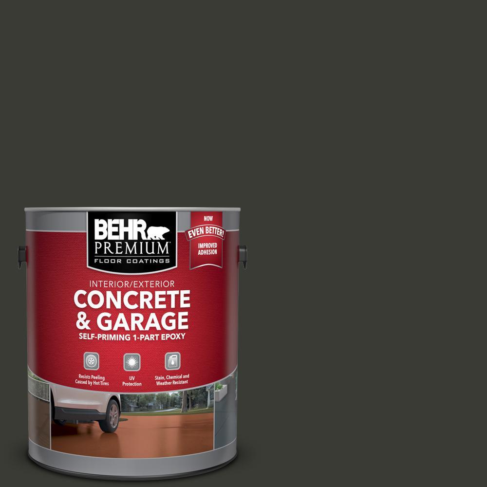 BEHR Premium 1 Gal. #ECC-10-2 Jet Black Self-Priming 1-Part Epoxy Satin Interior/Exterior Concrete and Garage Floor Paint