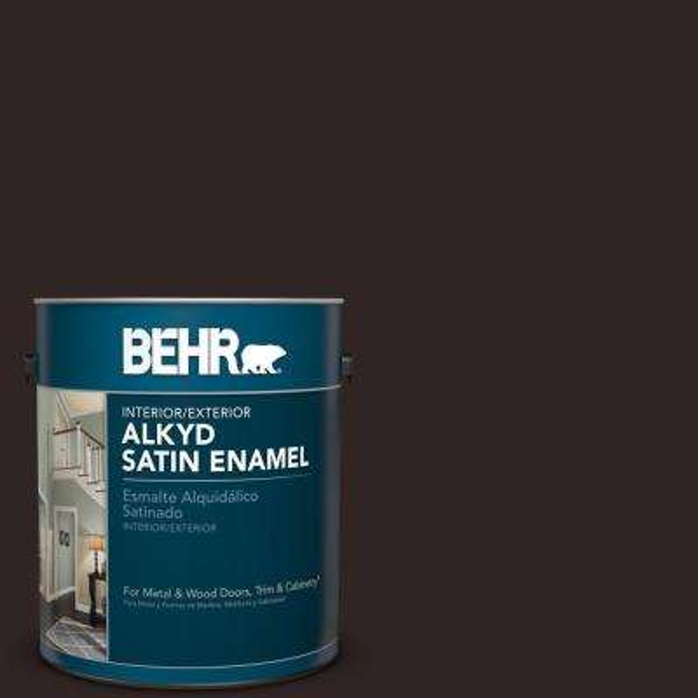 9a5f0accb5d 1 gal.  SC-104 Cordovan Brown Satin Enamel Alkyd Interior Exterior Paint