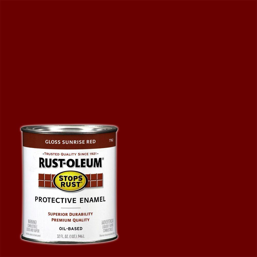 Rust-Oleum Stops Rust 1 qt. Gloss Sunrise Red Protective Enamel Paint
