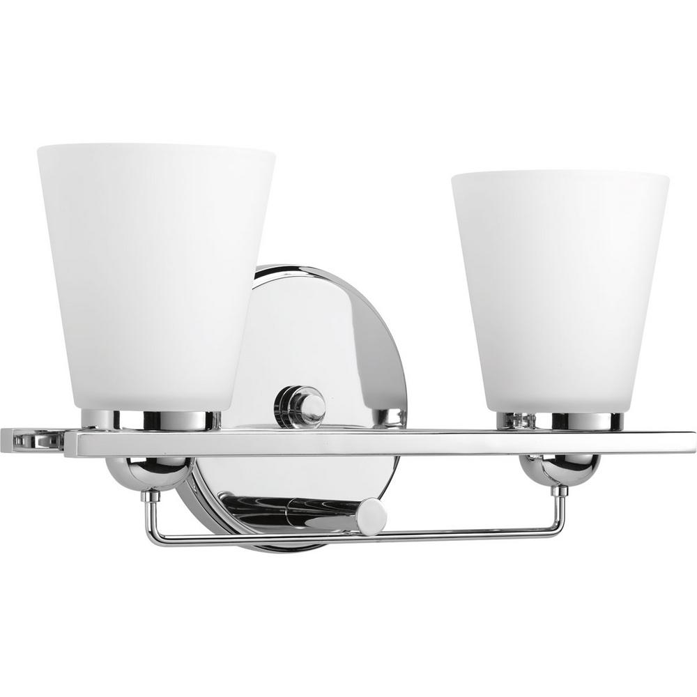 Flight Collection 2 Light Polished Chrome Vanity With Etched Glass Shades