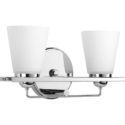 Flight Collection 2-Light Polished Chrome Bathroom Vanity Light with Glass Shades