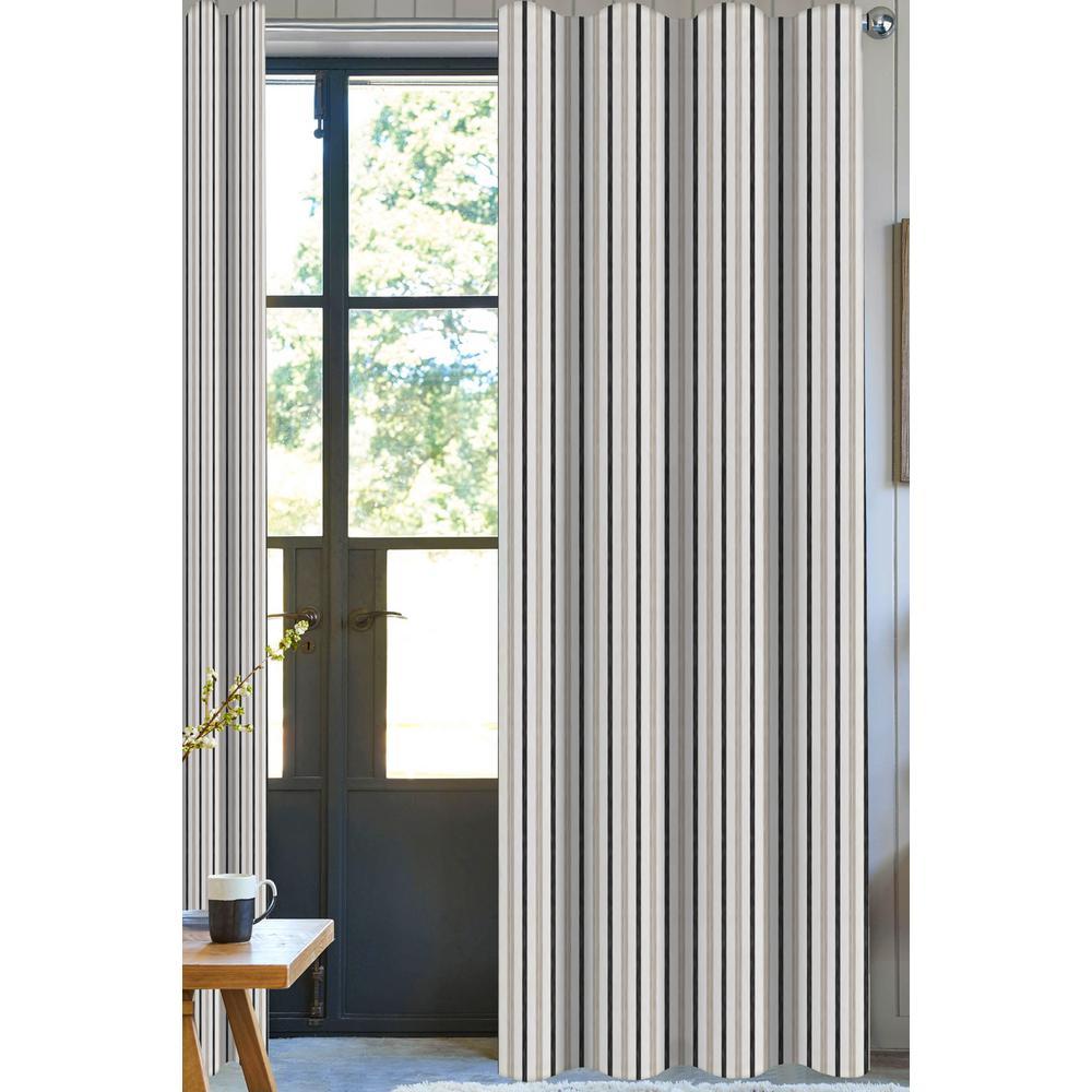 Bryson Stripe Designer Organic Cotton Drapery in Beige/Brown in 50 in. x 108 in.