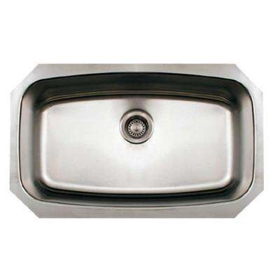 Noah's Collection Brushed Undermount Stainless Steel 29.5 in. 0-Hole Single Bowl Kitchen Sink