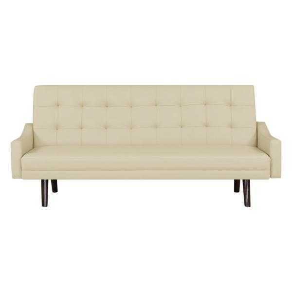 Handy Living Oakland Off White Almond Polyurethane Click Clack Futon Sofa Bed