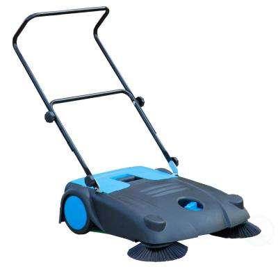 3.1 Gal. Outdoor and Indoor Manual Floor Sweeper with Dual Side Brooms, Black and Blue