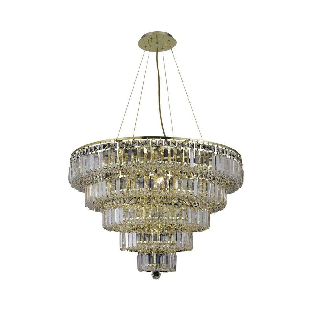 17-Light Gold Chandelier with Clear Crystal