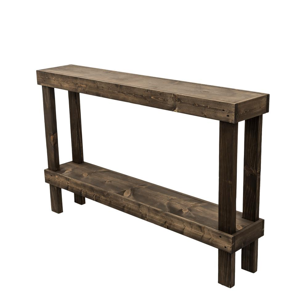 Rustic Luxe Dark Walnut Large Sofa Table