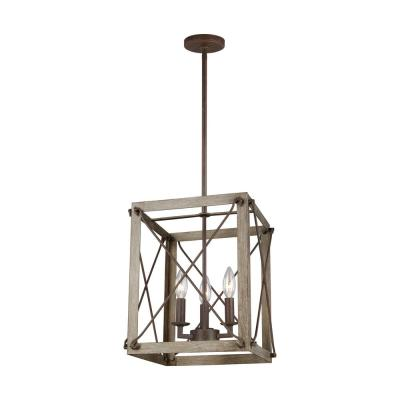 Thornwood Small 3-Light Washed Pine and Weathered Iron Accents Hall/Foyer Pendant with Dimmable Candelabra LED Bulb