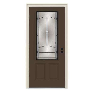 36 in. x 80 in. 3/4 Lite Idlewild Dark Chocolate Painted Steel Prehung Right-Hand Outswing Front Door w/Brickmould