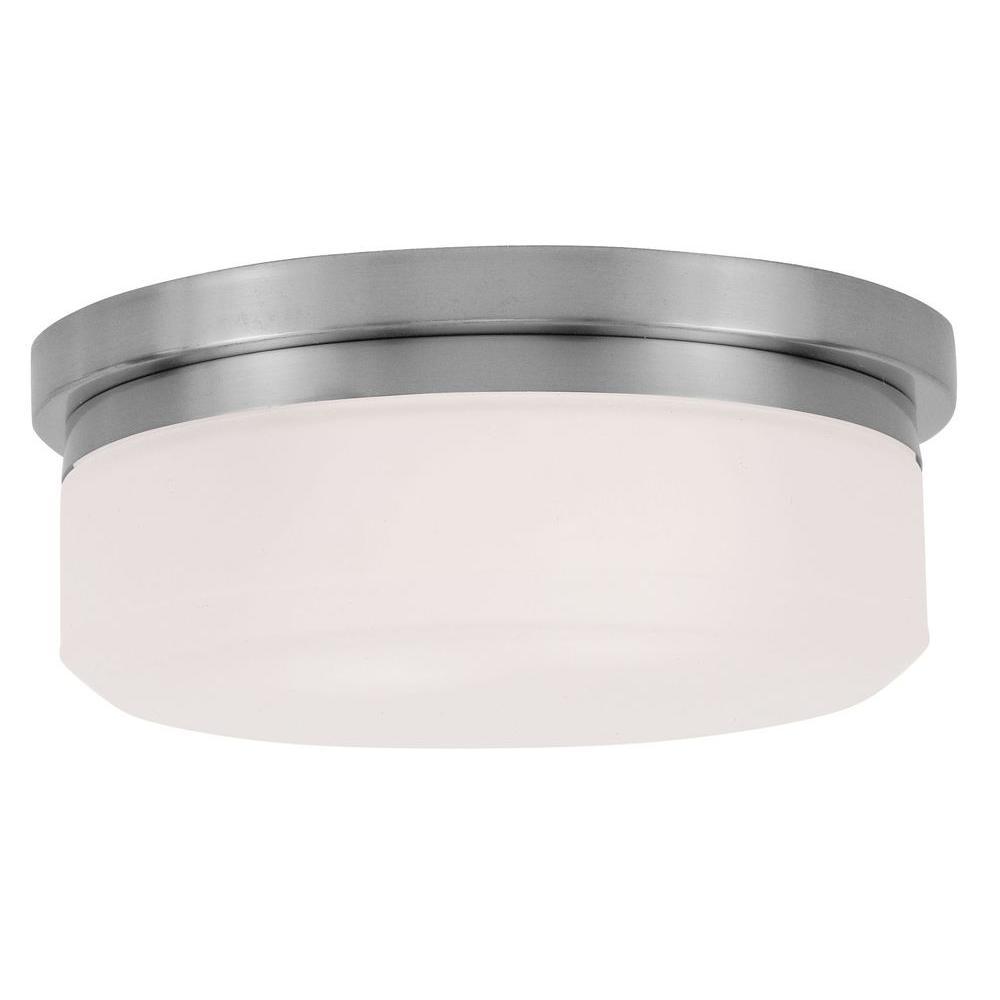 Livex Lighting Providence 2 Light Ceiling Brushed Nickel Incandescent Flush Mount 7391 91 The