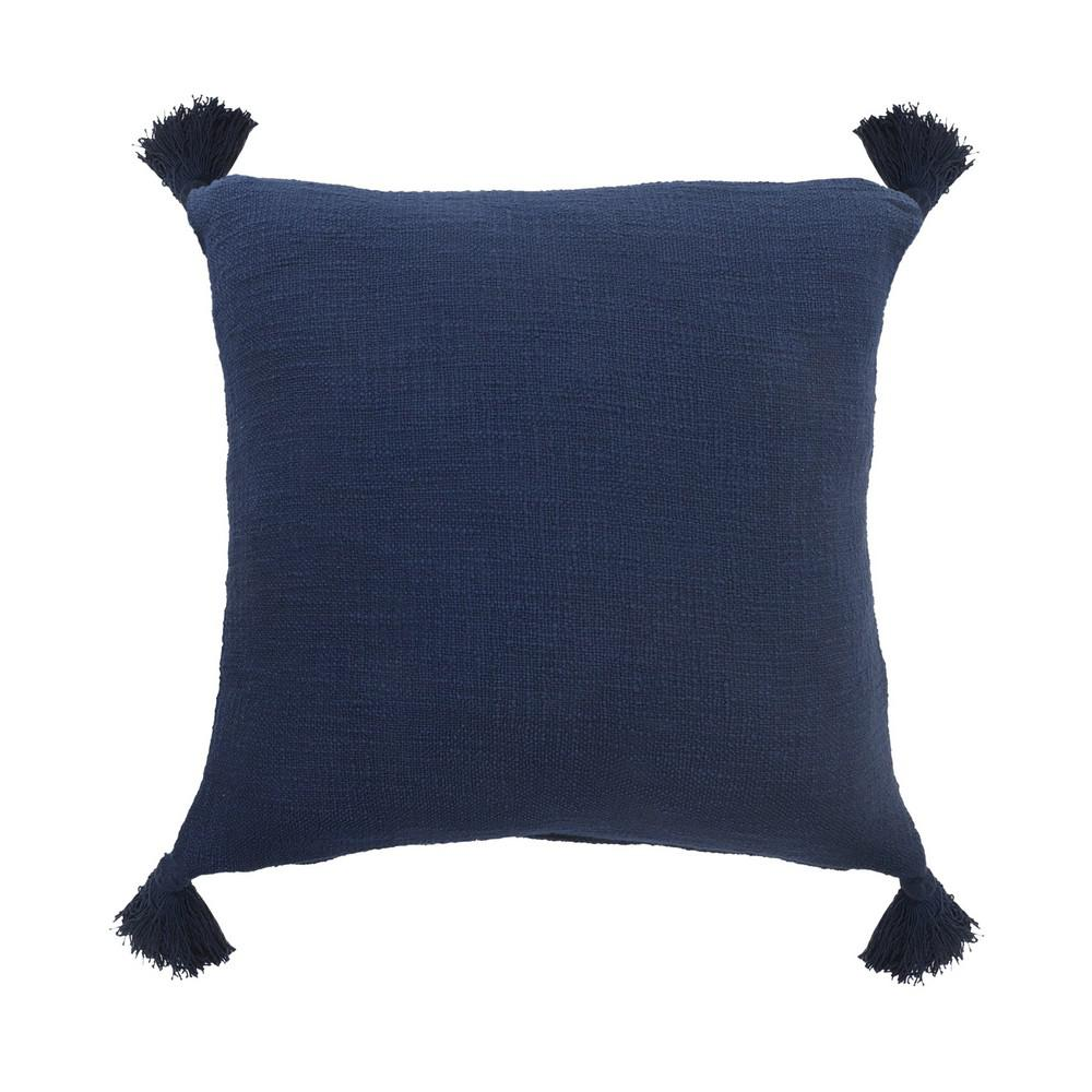 Casual Navy Blue Solid Tasseled Soft Poly-Fill 20 in. x 20 in. Throw Pillow