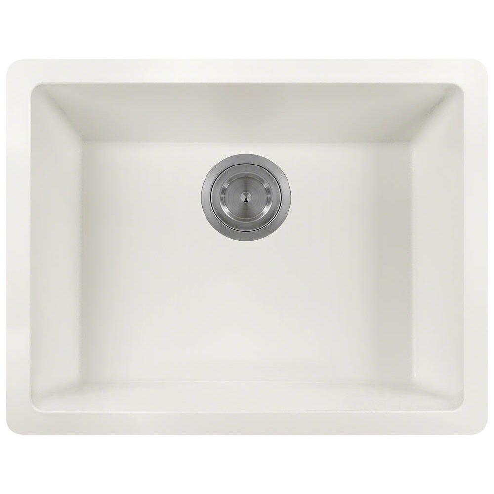MR Direct Undermount Granite Composite 22 In. Single Bowl Kitchen Sink In  White 808 White   The Home Depot