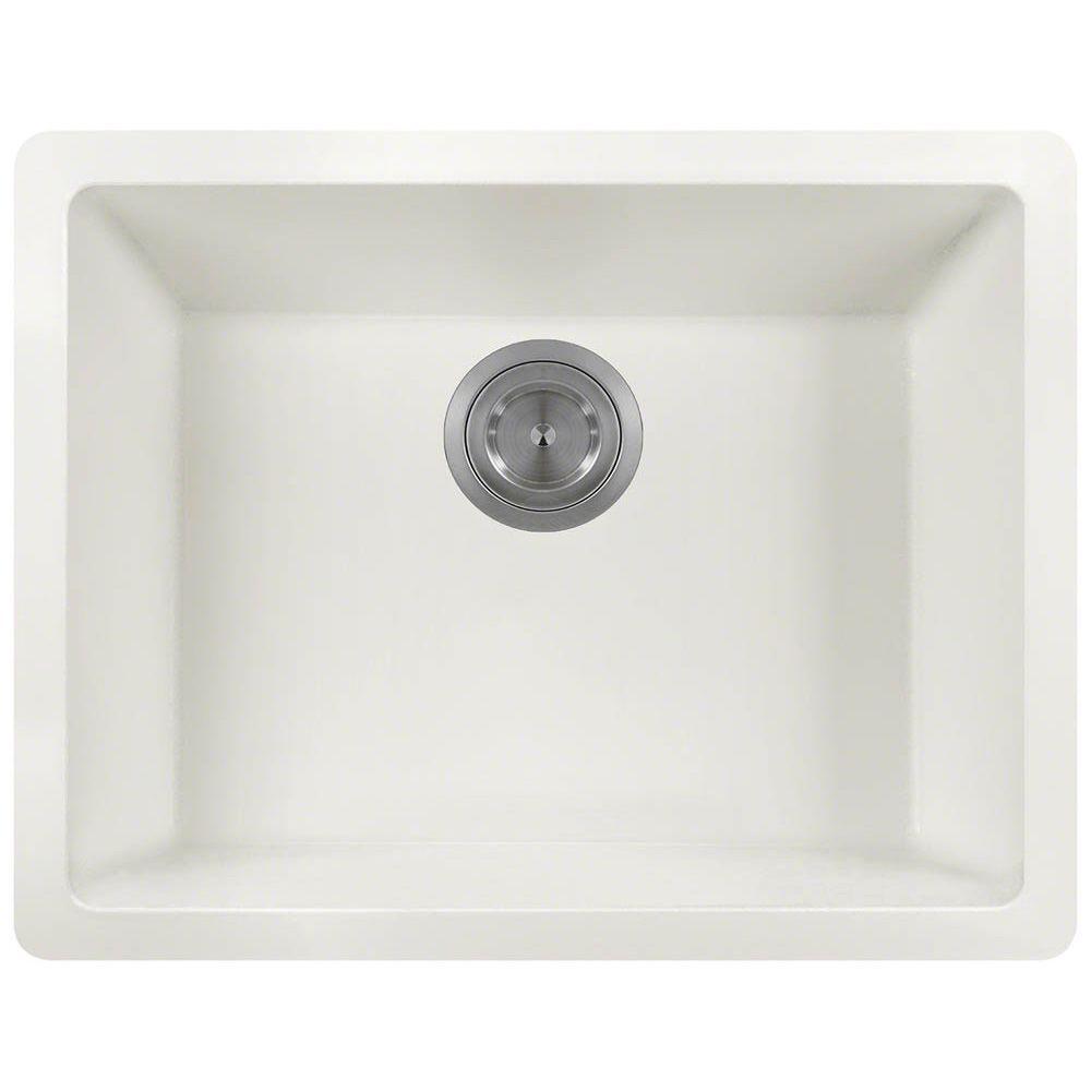 Undermount Granite 22 in. Single Bowl Kitchen Sink in White