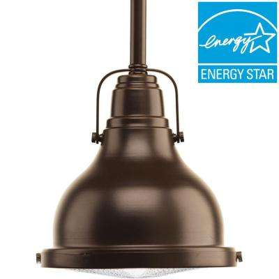 Fresnel Lens Collection 1-Light Oil Rubbed Bronze Integrated LED Mini Pendant with Fresnel Lens Glass