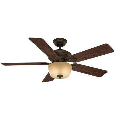 Utopian 52 in. Indoor/Outdoor Brushed Cocoa Bronze Ceiling Fan with 4-Speed Wall-Mount Control
