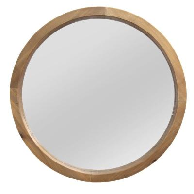 20 in. Chic Round Wood Framed Wall Mirror