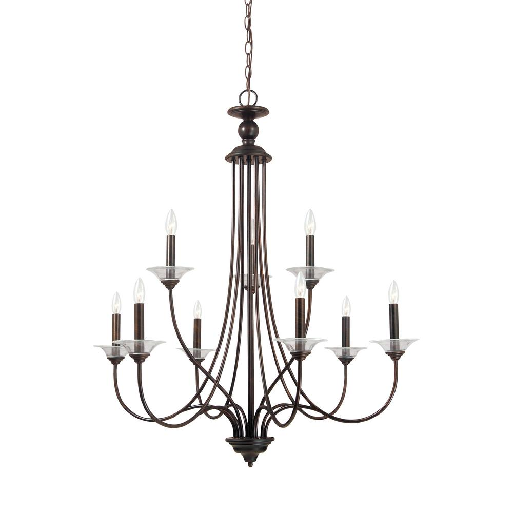 Sea Gull Lighting Lemont 9-Light Burnt Sienna Chandelier