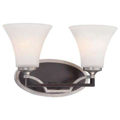Astrapia 2-Light Dark Rubbed Sienna with Aged Silver Bath Light