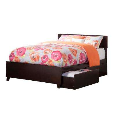 Orlando Espresso Full Platform Bed with Matching Foot Board with 2-Urban Bed Drawers