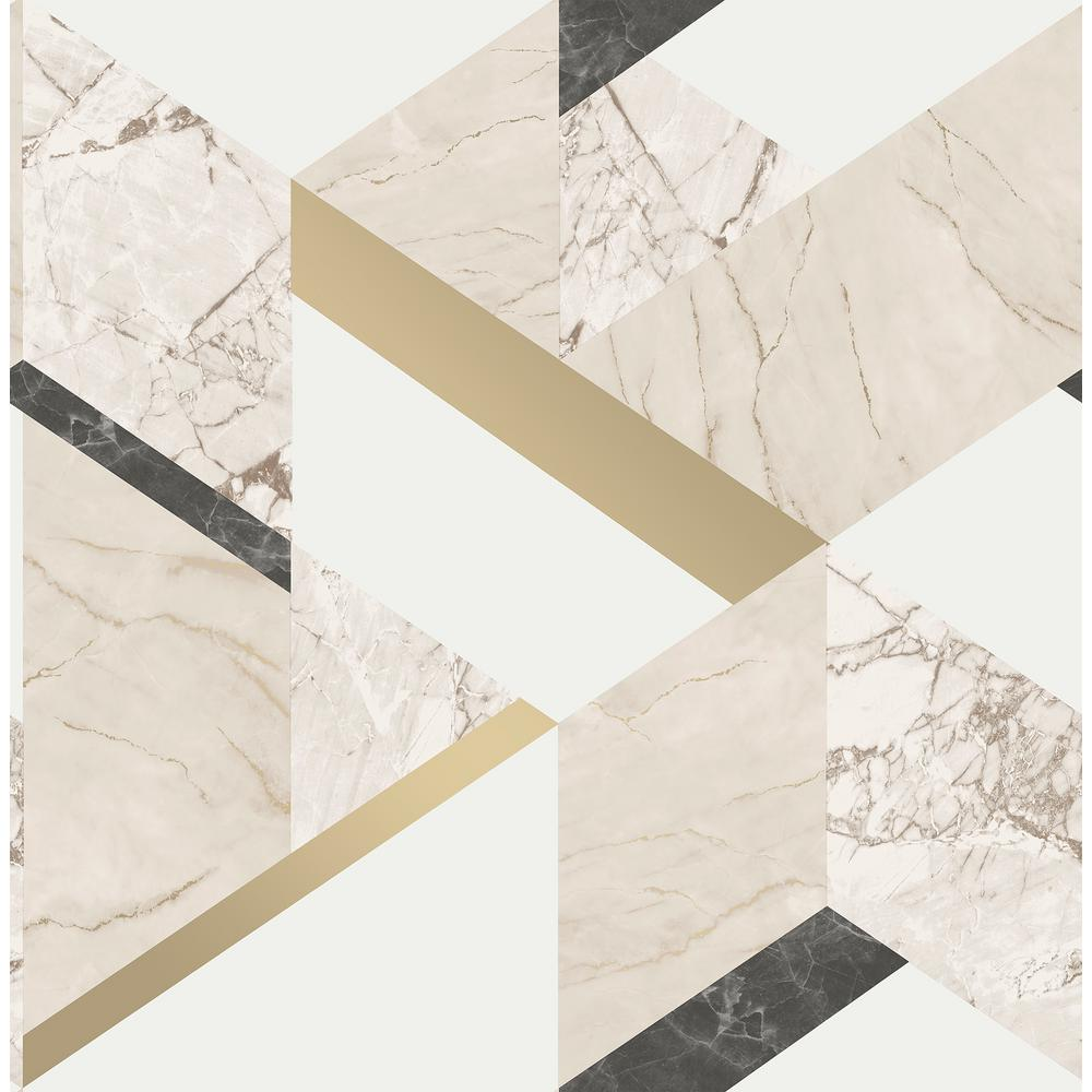 56 4 Sq Ft Elvira Cream Marble Geometric Wallpaper