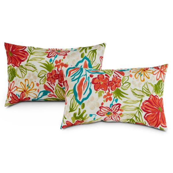 Breeze Floral Lumbar Outdoor Throw Pillow (2-Pack)