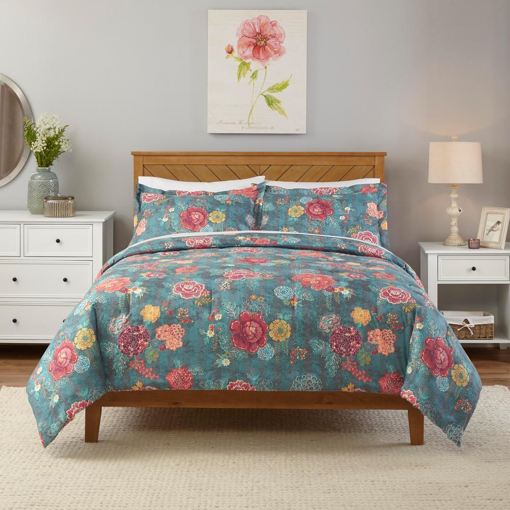 Natalie 3-Piece Green Floral King Comforter Set