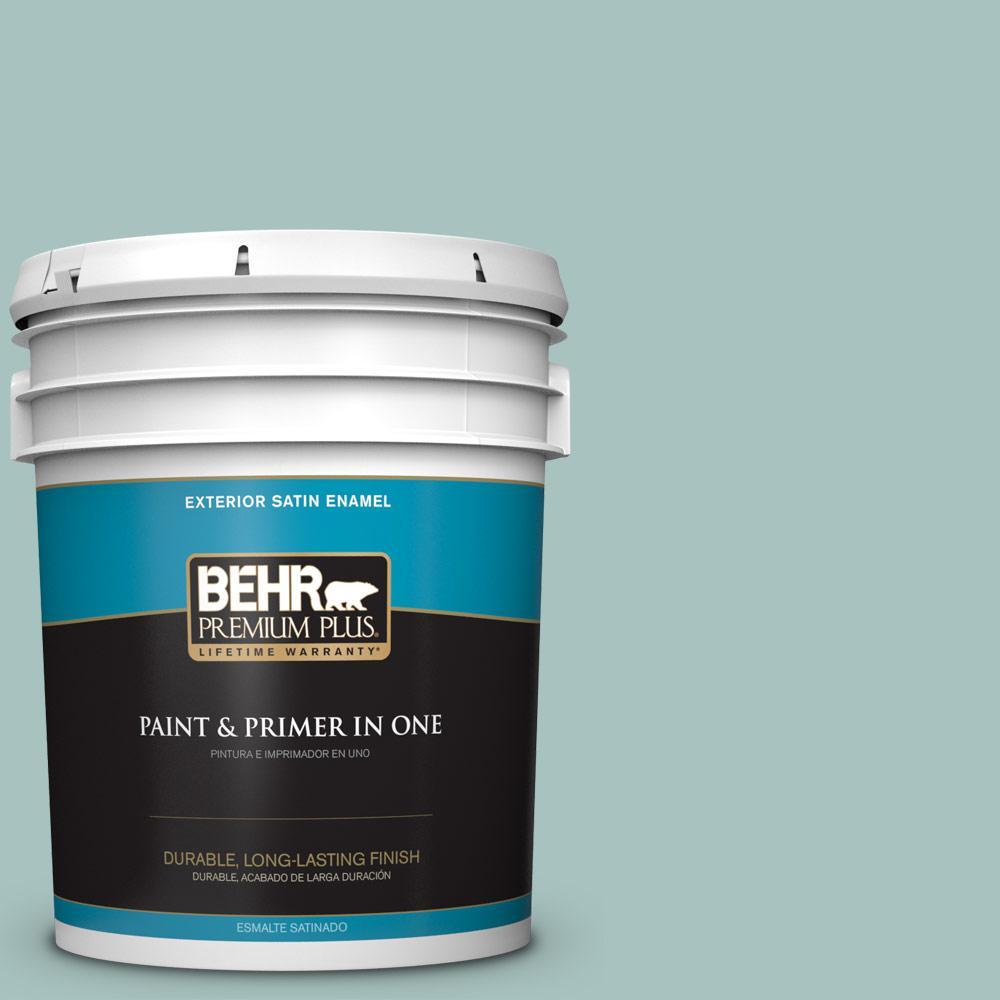 5 gal. #T17-08 Polished Aqua Satin Enamel Exterior Paint