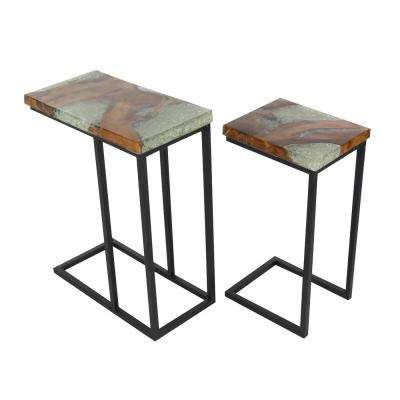 Large: 25 in. x 20 in. and Medium: 23 in. x 12 in. Modern Teak Wood, Iron and Resin Brown Rectangular Table (Set of 2)