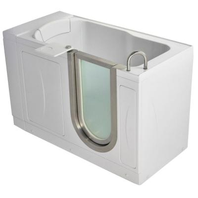 Petite 4.33 ft. x 28 in. Acrylic Walk-In Soaking Bathtub in White with Right Drain/Door