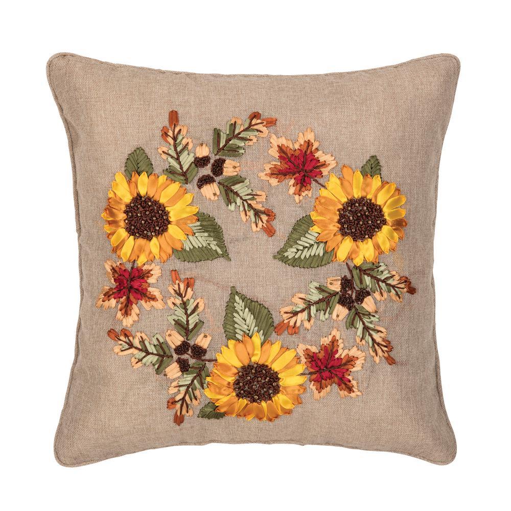 Yellow Autumn Wreath Ribbon Art 16 in. x 16 in. Standard Throw Pillow