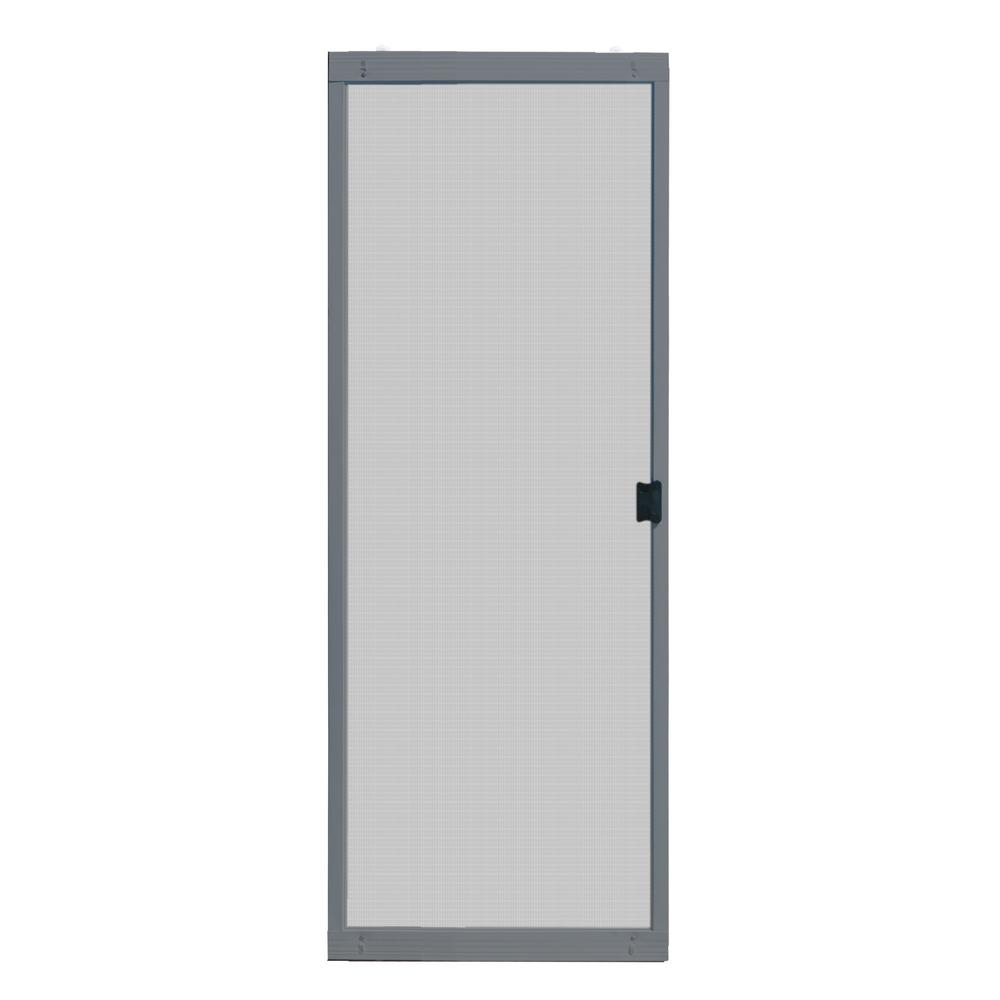Unique Home Designs 30 In X 80 In Adjustable Fit Gray Metal Sliding Patio Screen Door Ispm500030gry The Home Depot