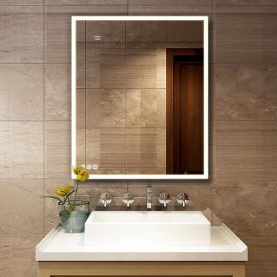 30 in. W x 36 in. H Frameless Rectangular LED Light Bathroom Vanity Mirror
