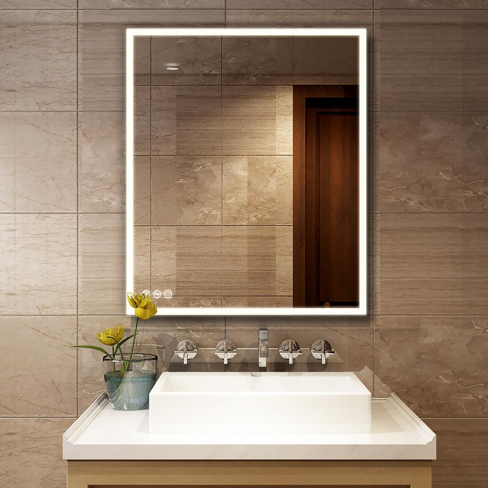30 in. x 36 in. LED Lighted Single Frameless Bathroom Mirror