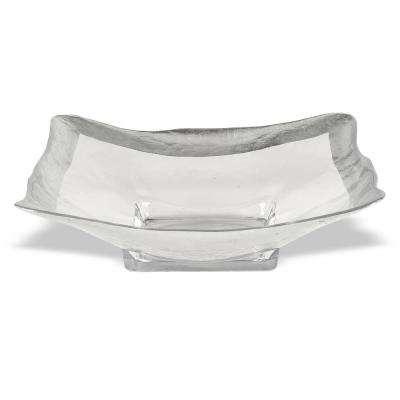 16 in. Square Leaf Wave Bowl in Silver