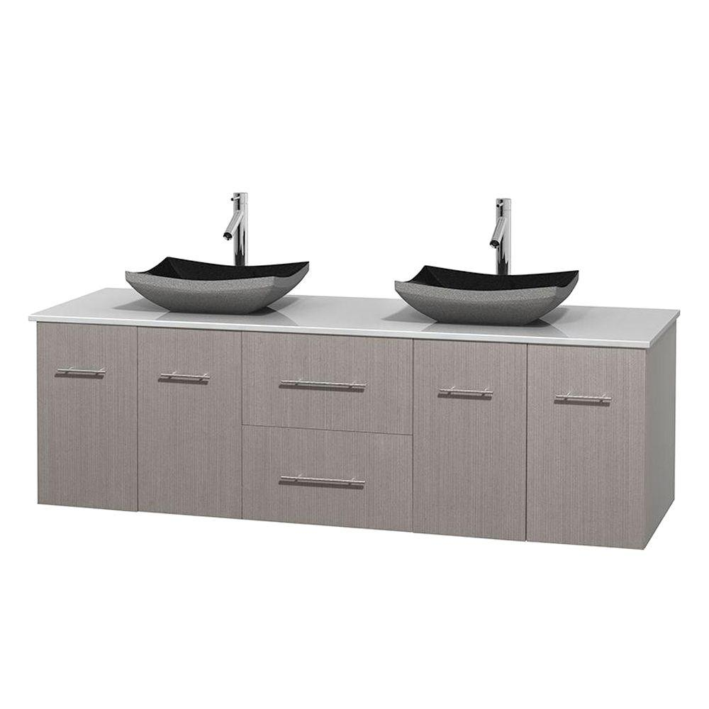 Wyndham Collection Centra 72 in. Double Vanity in Gray Oak with Solid-Surface Vanity Top in White and Black Granite Sinks