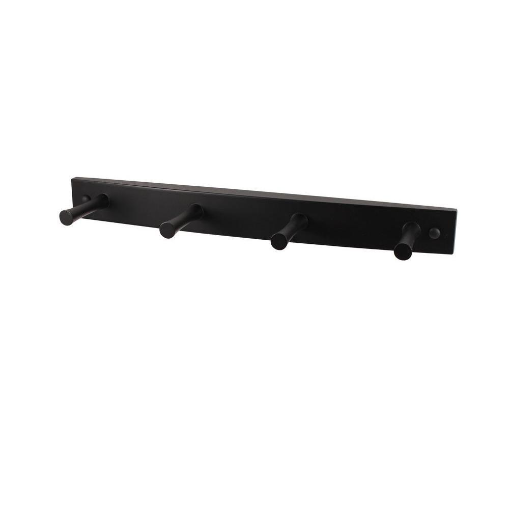 15-1/2 in. L Decorative Black 4-Peg Wall Mount Wood Rack