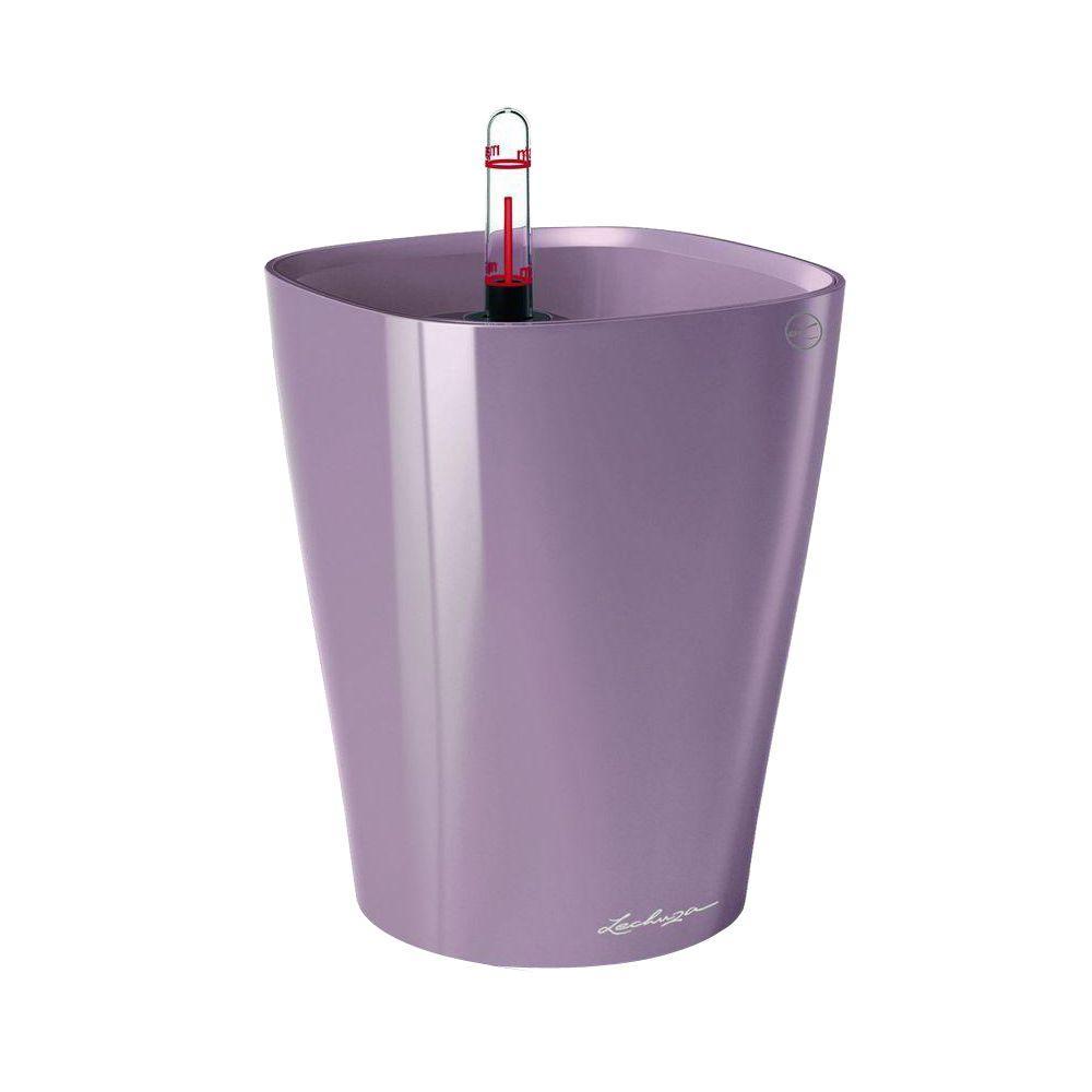Lechuza Deltini Premium 6 in. Square Pastel Violet Table Top Self Watering Plastic Planter