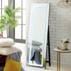 Oversized Mirrored Glass Lighted Classic Mirror (63 in. H X 1 in. W)