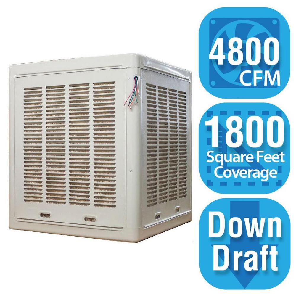 Hessaire 4 800 Cfm Down Draft Aspen Roof Side Evap Cooler Swamp Cooler For 18 In Ducts 1 800 Sq Ft Motor Not