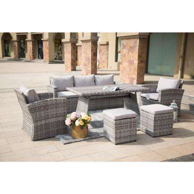 Wolfhurst 6-Piece Wicker Patio Conversation Set with Grey Cushions