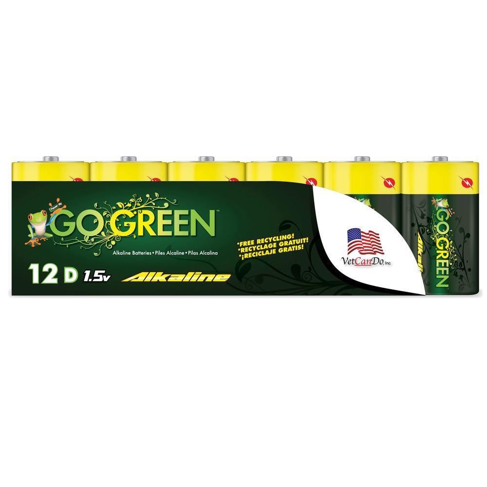 Go Green D Alkaline Battery (12 per Pack)