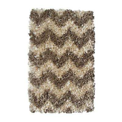 Shaggy Raggy Chevron Natural 3 ft. x 5 ft. Indoor Area Rug