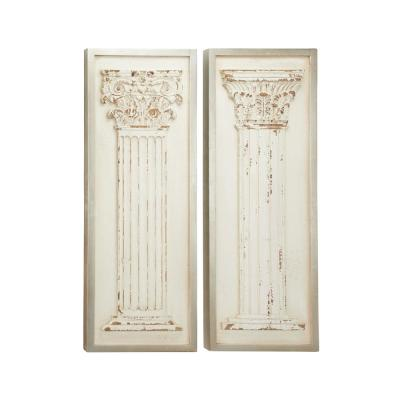 LITTON LANE 43 in. x 16 in. Each Large Rectangular Distressed Antique White Wood Wall Decor with Carved Greek Columns (Set of...