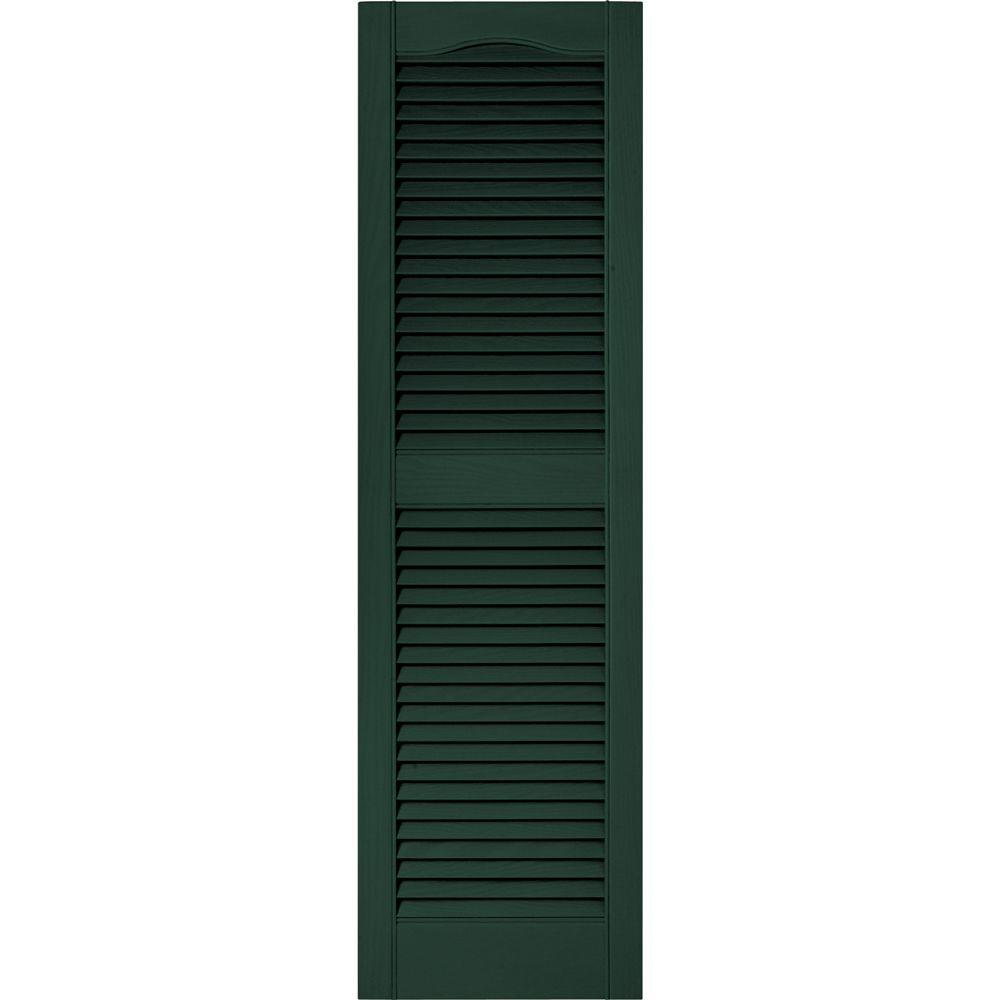 Builders Edge 15 in. x 52 in. Louvered Vinyl Exterior Shutters Pair in #122 Midnight Green