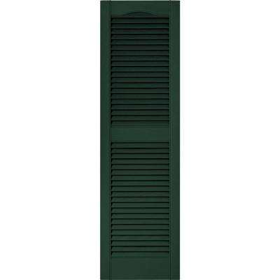 15 in. x 52 in. Louvered Vinyl Exterior Shutters Pair in #122 Midnight Green