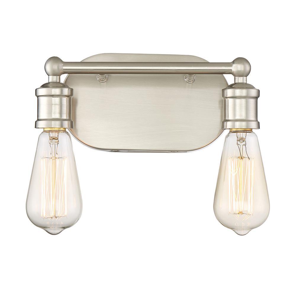 2-Light Brushed Nickel Bath Light