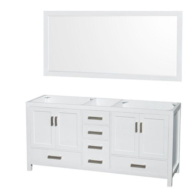 Sheffield 72 in. Double Vanity Cabinet with 70 in. Mirror in White