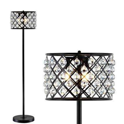 Elizabeth 60 in. Bronze/Clear Crystal/Metal LED Floor Lamp
