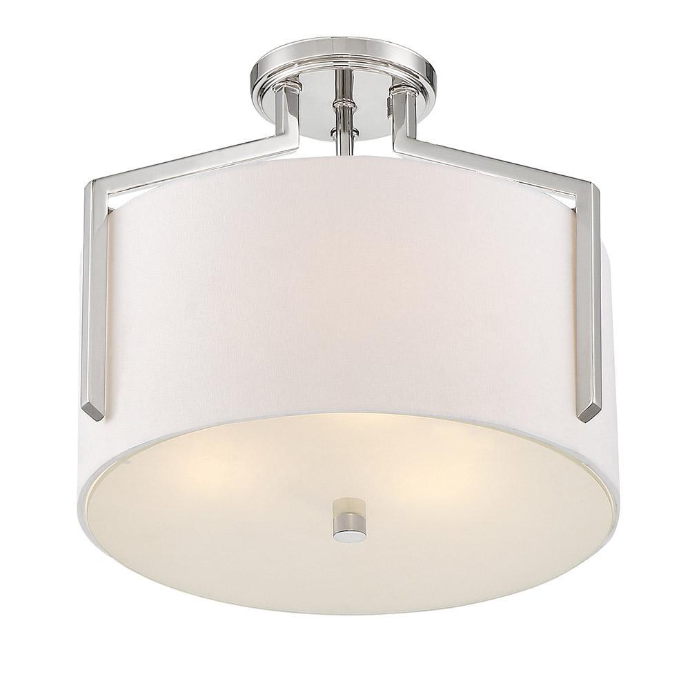 Elara 15 in. 3-Light Polished Nickel Semi Flush Mount