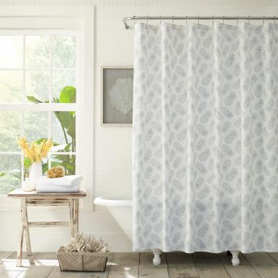 Tossed Pineapple Gray 72 in. Cotton Shower Curtain